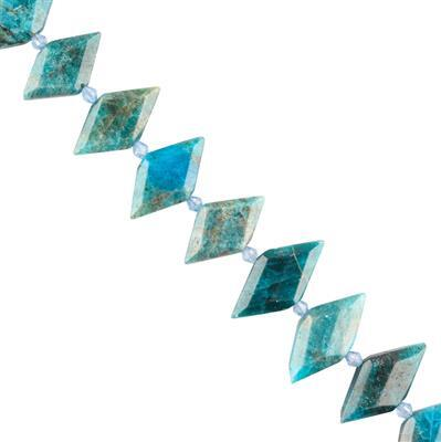 185cts Apatite Graduated Faceted Rhombus Approx 23x12 to 27x15mm, 18cm Strand.