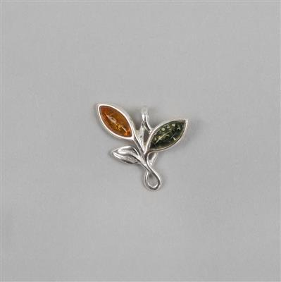 Baltic Cognac, Green Amber Cabochon Marquise Pendant Approx 17x14mm Sterling Silver Element