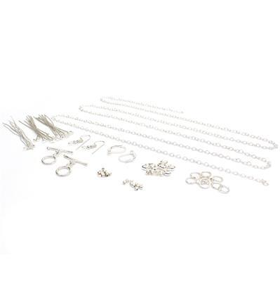 Silver Plated Base Metal Findings Pack Inc. Toggle Locks & Lever Back Earrings (77pcs)