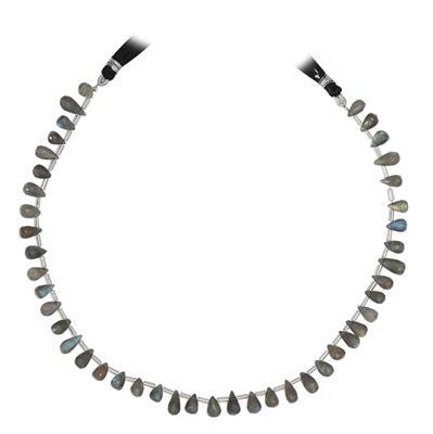 90cts Labradorite Graduated Faceted Drops Approx 6x3 to 12x6mm, 35cm Strand.
