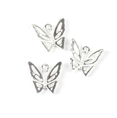 925 Sterling Silver Filigree Butterfly Charms Approx 10mm 3pc
