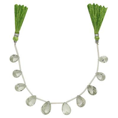 50cts Green Amethyst Graduated Concave Cut Pears Approx From 12x9 to 15x10mm, 15cm Strand.