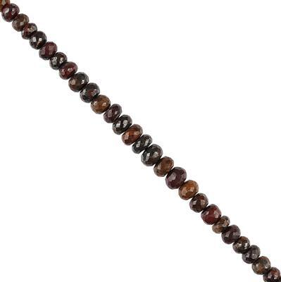 150cts Iron Tiger Eye Graduated Faceted Rondelles Approx 6x4 to 10x6mm, 22cm