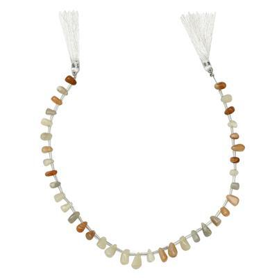 80cts Multi Colour Moonstone Graduated Irregular Plain Drops Approx 6x3 to 11x5mm, 30cm Strand.