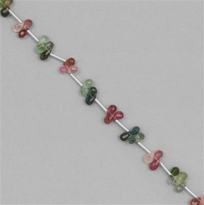 22cts Multi Tourmaline Faceted Drops Approx 4x2 to 6x3mm, 18cm Strand.