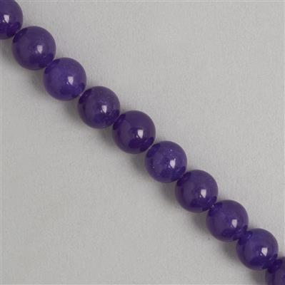 260cts Purple Colour Dyed Quartz Plain Rounds Approx 10mm, 35cm Strand.