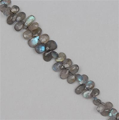60cts Labradorite Graduated Faceted Pears Approx 6x4 to 11x7mm, 18cm Strand.