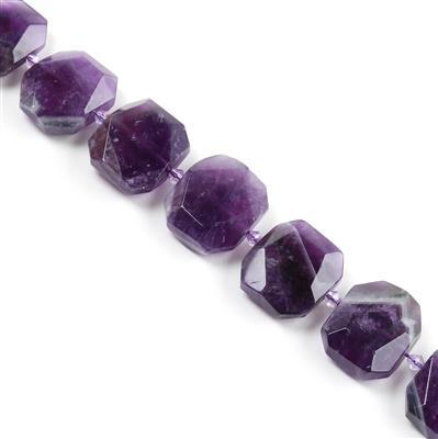 640cts Amethyst Faceted Slabs Approx from 19x23 to 21x25mm, 17pcs per strand