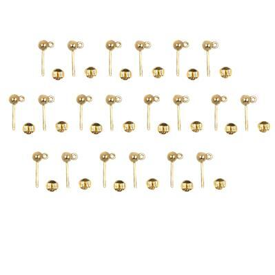 925 Gold Plated Sterling Silver Earring Posts & Butterfly Backs Approx 15x4mm (10pairs)