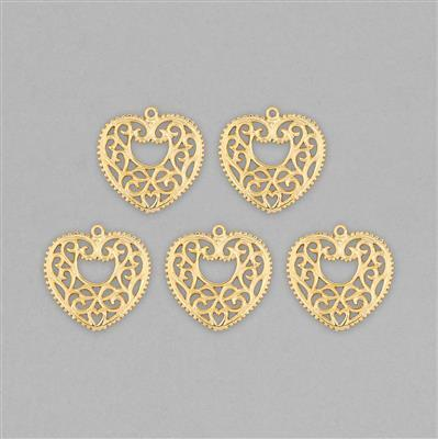 Gold Plated Brass Filigree Heart Charms Approx 27mm (5pcs)