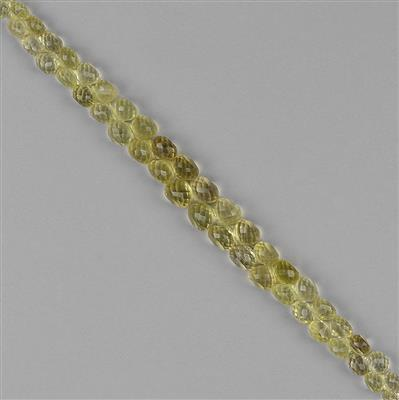 146cts Lemon Quartz Graduated Faceted Flat Drops Approx 5 to 10mm, 18cm Strand.