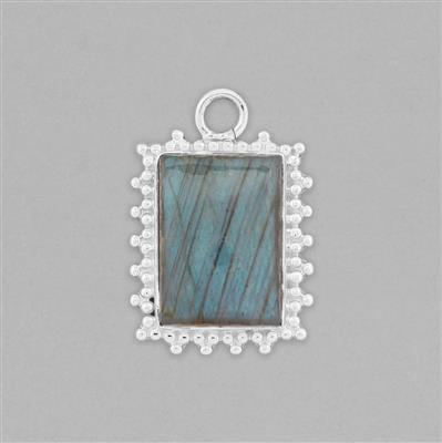 925 Sterling Silver Gemset Pendant Approx 29x20mm Inc. 12cts Labradorite Cushion Cabochon Approx 18x13mm