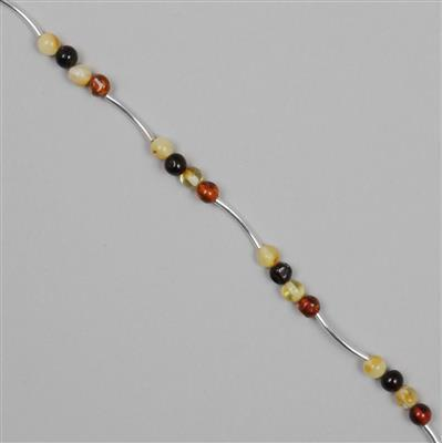 Baltic Multicolour Amber Round Nuggets Approx 5mm with Sterling Silver Spacers 15mm
