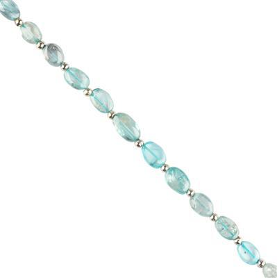 30cts Blue Zircon Graduated Plain Irregular Ovals Approx 6x4 to 8x5mm, 18cm Strand.