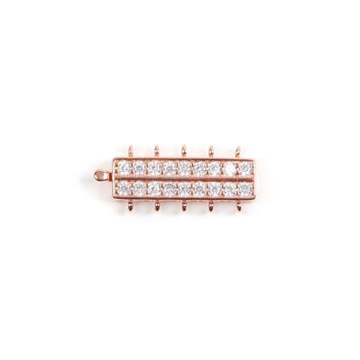 Rose Gold Plated Base Metal CZ Set 5 Strand Box Clasp Approx 31x13mm (1pc)