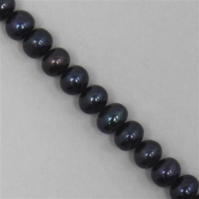 Black Freshwater Cultured Pearls Plain Rondelles Approx 8x6mm