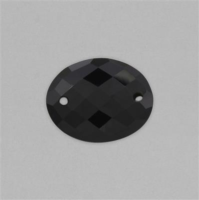 16cts Black Onyx Double Side Drilled Faceted Oval Approx 25x20mm.