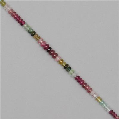 32cts Multi-Colour Tourmaline Graduated Plain Rondelles Approx From 3x1 to 5x2mm, 16cm Strand.