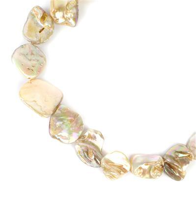 Cream Mother of Pearl Beads Approx 15x15mm to 22x20mm