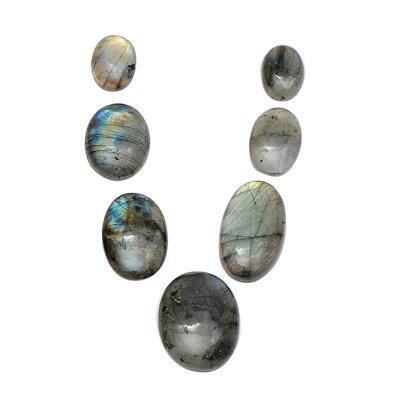 190cts Labradorite Plain Oval Cabochons Approx From 20x15 to 40x30mm.