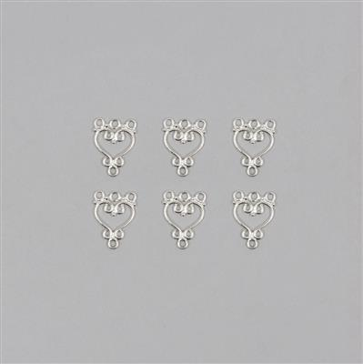 925 Sterling Silver Heart Connector Earring Findings (3pairs)