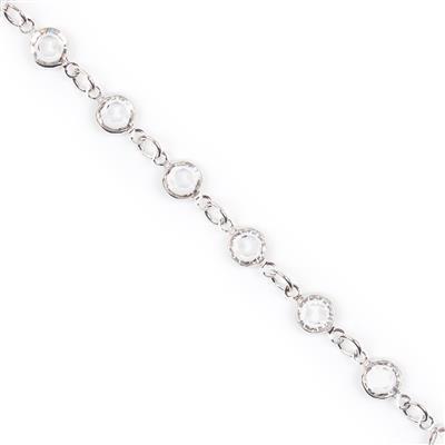 Swarovski Crystal Channel Chain, Rhodium Plating, 90005, 50cm