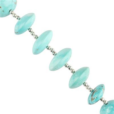 Limited Edition 65cts Turquoise Graduated Plain Saucers Approx 11x5 to 16x6mm, 6cm Strand.