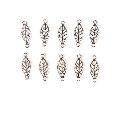 Silver Plated Base Metal Leaf Connectors, Approx 18x7mm (10pcs)