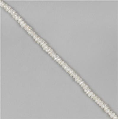 White Freshwater Cultured Pearl Rondelles Approx 2x1mm 38cm