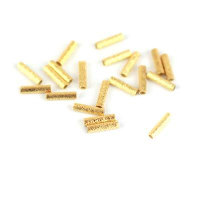 Gold Plated 925 Sterling Silver Brushed Round Tube Approx 7x1.5mm, 20 Pcs