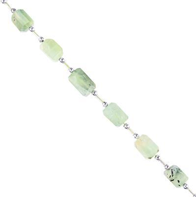 85cts Prehnite Graduated Faceted Nuggets Approx 8x7 to 11x8mm, 18cm Strand.