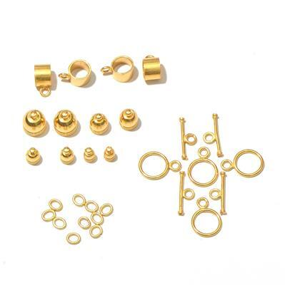 Gold Plated Base Metal Kumihimo Findings Pack (26pcs)