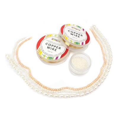 Sea Shore INC Pink Potato Pearls, White Pearl Rounds, White Rice Pearls, 11/0s & Wire