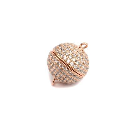 Rose Gold Plated Magnetic Brass Clasp with Cubic Zirconia Approx 16mm
