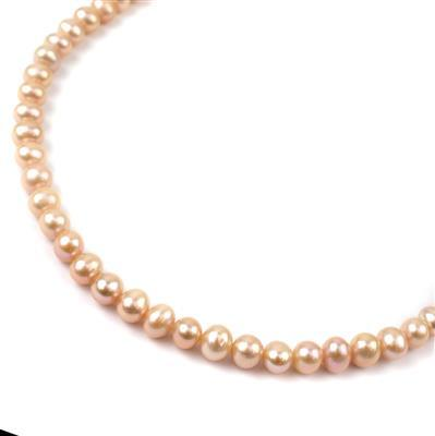 Pink Freshwater Cultured Potato Pearls Approx 6x7mm, Approx 38cm Strand