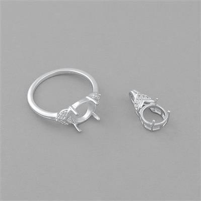 Size 9 - 925 Sterling Silver Ring and Pendant Round Mount Fits Set For 8mm Gemstones Inc. 0.07cts White Topaz Brilliant Cut Rounds 1mm.