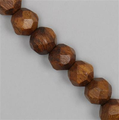 Robles Wood Faceted Round Approx 15mm with 5mm Hole (Approx 27 pieces)