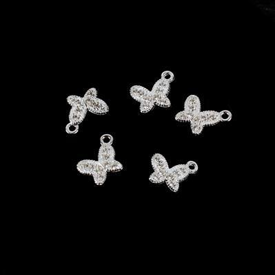 925 Sterling Silver and Cubic Zirconia Spring Butterfly Charms Approx 6mm 5pk