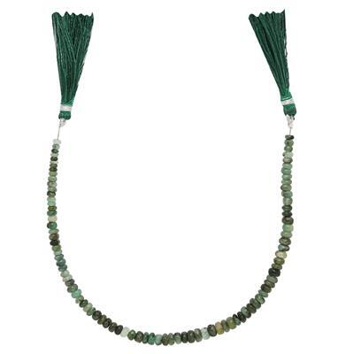 40cts Emerald Graduated Plain Rondelles Approx 2x1 to 5x2mm, 20cm Strand.
