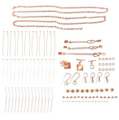Rose Gold Plated Copper Essential Finding Kit in Organza Bag, Approx 118 pcs.