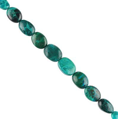 50cts Chrysocolla Graduated Plain Ovals Approx 7x6 to 12x9mm, 10cm Strand.