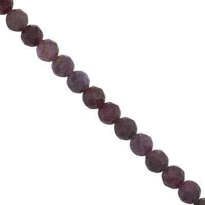 60cts Ruby faceted Round seed beads Approx 3.50 to 3.75mm, 38cm Strand.