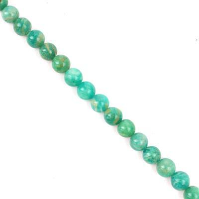 80cts Russian Amazonite Plain Rounds Approx 6mm, 38cm strand