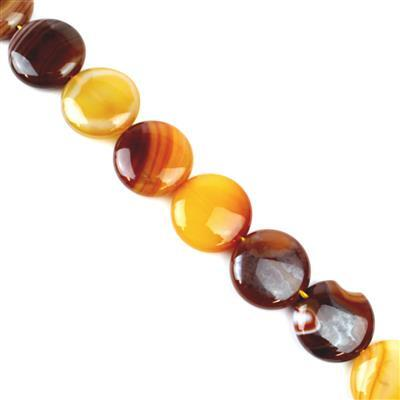 380cts Coffee Stripe Agate Puffy Coins Approx 20mm, 38cm/strand