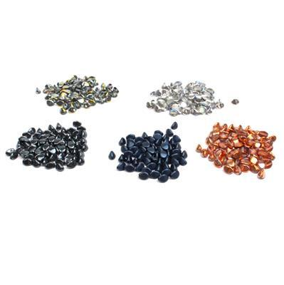Pinch Bead Collection No3; 5 x Czech Pinch Beads 5x3mm (100pcs each)