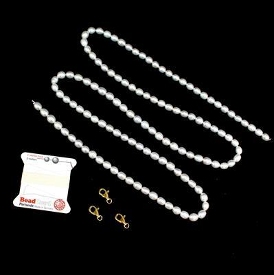 Pearl Princess Inc Brand New 1m White Freshwater Cultured Pearl Rice Beads Approx 7x8mm
