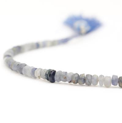 28cts Blue Sapphire Graduated Faceted Rondelles Approx 2x1 to 4x3mm, 15cm Strand.