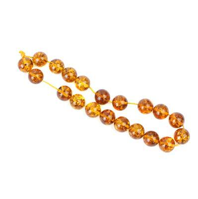 Baltic Cognac Amber Plain Rounds Approx 10mm 20cm strand