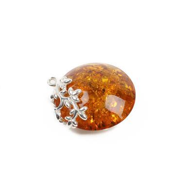 Baltic Cognac Amber Filigree Sterling Silver Round Pendant - 24x21mm