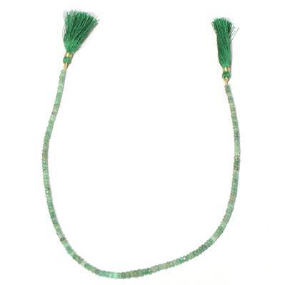 60cts Emerald Graduated Faceted Rondelles Approx 2x1 to 5x3mm, 40cm Strand.